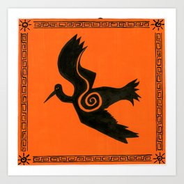 orange crane Art Print
