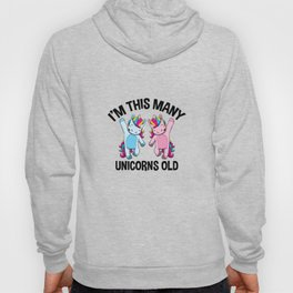 I'm This Many Unicorns Old Tee 2 Yr Second Birthday Unicorn Hoody