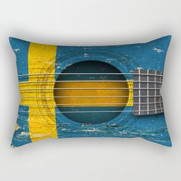 Old Vintage Acoustic Guitar with Swedish Flag Rectangular Pillow
