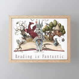 Reading is Fantastic Framed Mini Art Print