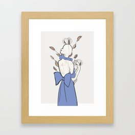 Minimalistic drawing - Woman with flowers Framed Art Print