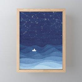 blue ocean waves, sailboat ocean stars Framed Mini Art Print