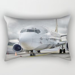 The plane at the airport on road Rectangular Pillow