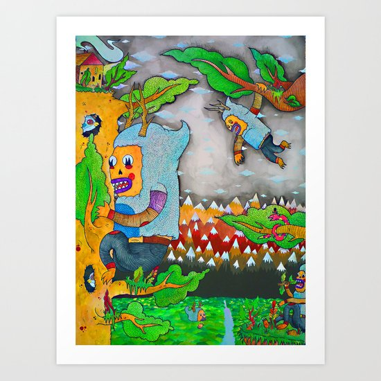 Blissfully Unaware Of The Sneaky Snakes Approach Art Print