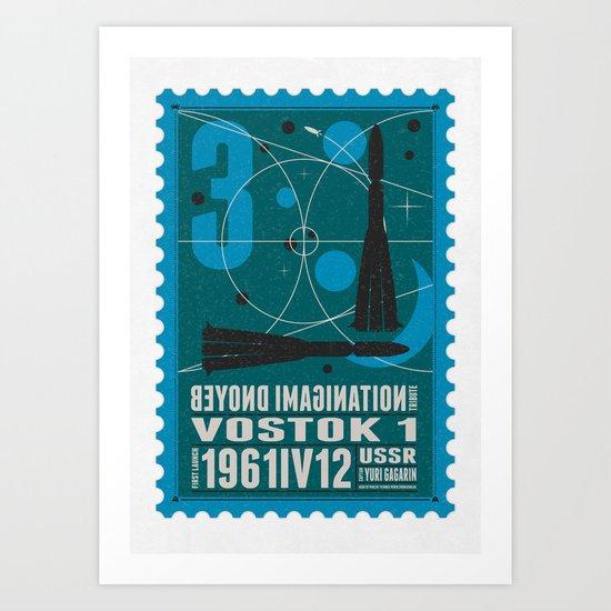 Beyond imagination: Vostok 1 postage stamp  Art Print