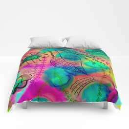 colorful alcohol ink doodle painting Comforters