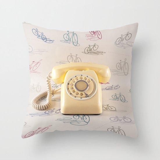 The yellow retro telephone  Throw Pillow