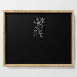 Dachshund - One Line Drawing Serving Tray