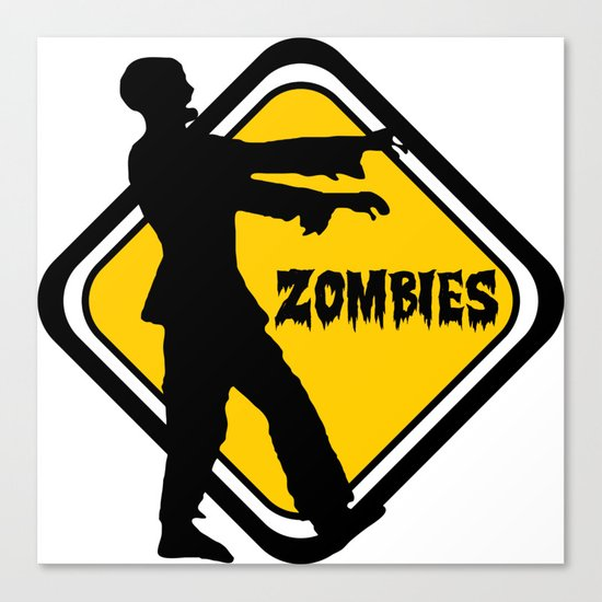 Caution Zombies Canvas Print