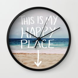 My Happy Place (Beach) Wall Clock