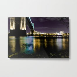 Montreal Bridge Night Edition Metal Print