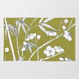 bamboo and plum flower in white on yellow Rug