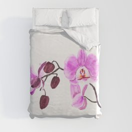 pink orchid flower watercolor painting Duvet Cover