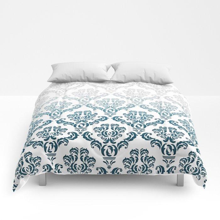 DAMASK GREY TO TEAL Comforters