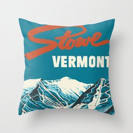 Stowe, Vermont Vintage Ski Poster Throw Pillow
