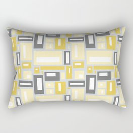 Simple Geometric Pattern in Yellow and Gray Rectangular Pillow
