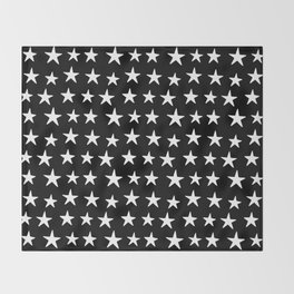 Star Pattern White On Black Throw Blanket