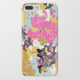 Laurel - Abstract painting in a free style with bold colors gold, navy, pink, blush, white, turquois iPhone Case