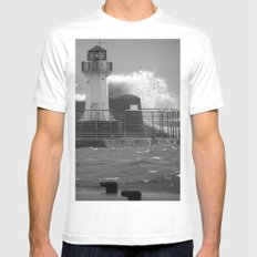 Ardrossan Lighthouse Versus the Sea Mens Fitted Tee White MEDIUM