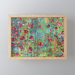 Summer Evenings - Painting - Floral Abstract Framed Mini Art Print
