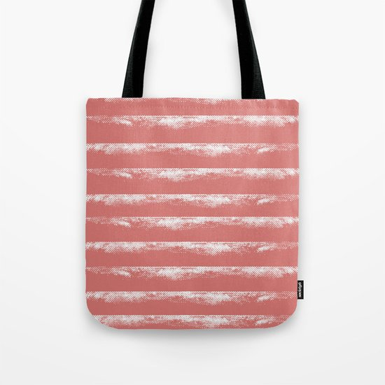 Irregular Stripes Coral Tote Bag