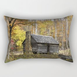 Smoky Mountain Rural Rustic Cabin Autumn View Rectangular Pillow