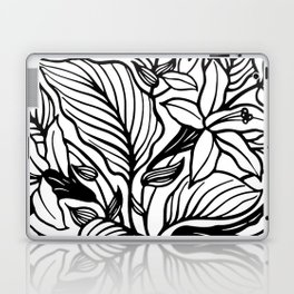 White Black Floral Minimalist Laptop & iPad Skin