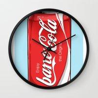 bane Wall Clocks featuring Bane Cola by Jesus Bane