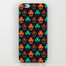 Multy retro flowers black iPhone & iPod Skin