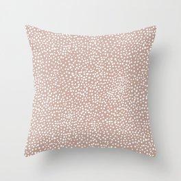 Little wild cheetah spots animal print neutral home trend warm dusty rose coral Throw Pillow