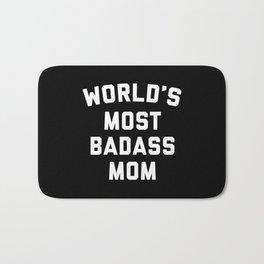 Badass Mom Funny Quote Bath Mat