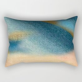 Wind and Rain - acrylic abstract with pink, blue, and brown Rectangular Pillow