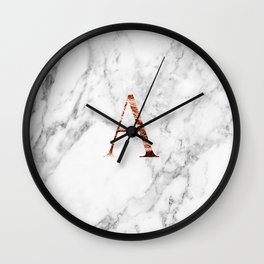 Monogram rose gold marble A Wall Clock