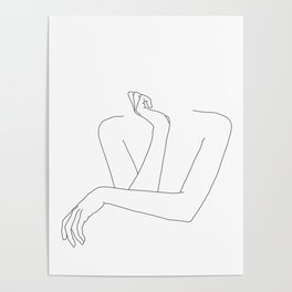 Minimal line drawing of woman's folded arms - Anna Poster