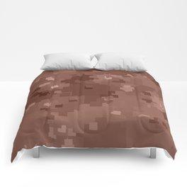 Cognac Square Pixel Color Accent Comforters