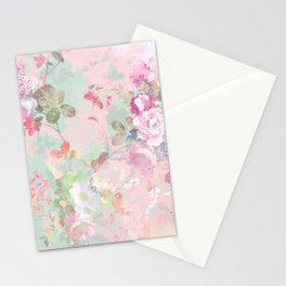 Vintage botanical blush pink mint green floral pattern Stationery Cards