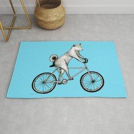 Shiba Inu Riding a Bicycle Rug