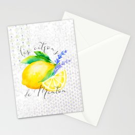 Les Citrons de Menton—Lemons and Lavender, Provence Stationery Cards