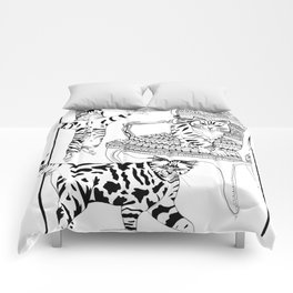 Cats with a chair - Ink artwork Comforters