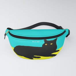 Black Cat on Yellow and Sky Blue Fanny Pack