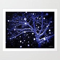 Dark Snowy Night Art Print