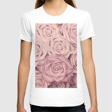 Some people grumble - Pink rose pattern- roses Womens Fitted Tee White X-LARGE