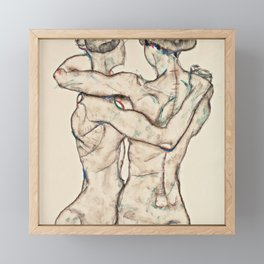 "Egon Schiele ""Naked Girls Embracing"" Framed Mini Art Print"