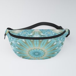 Turquoise and Gold Mandala Tile Fanny Pack