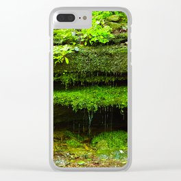 Fairy Home - Moss Covered Rock Waterfall Clear iPhone Case