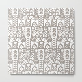 Swedish Folk Art - Warm Gray Metal Print