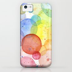 Watercolor Abstract Rainbow Circles and Splatters Slim Case iPhone 5c