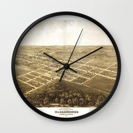 Bird's Eye View of Warrensburg, Missouri (1869) Wall Clock