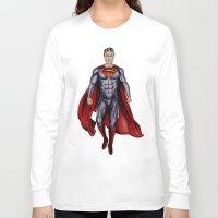 man of steel Long Sleeve T-shirts featuring man of steel by Raymond Eagen