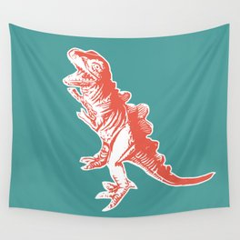 Dino Pop Art - T-Rex - Teal & Dark Orange Wall Tapestry